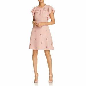 Kate Spade Eyelet Flutter Ruffle Crepe Dress